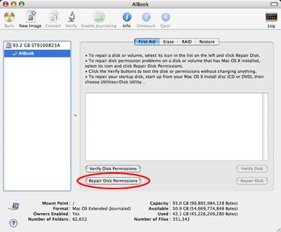 Como reparar los permisos en Mac OS X 8