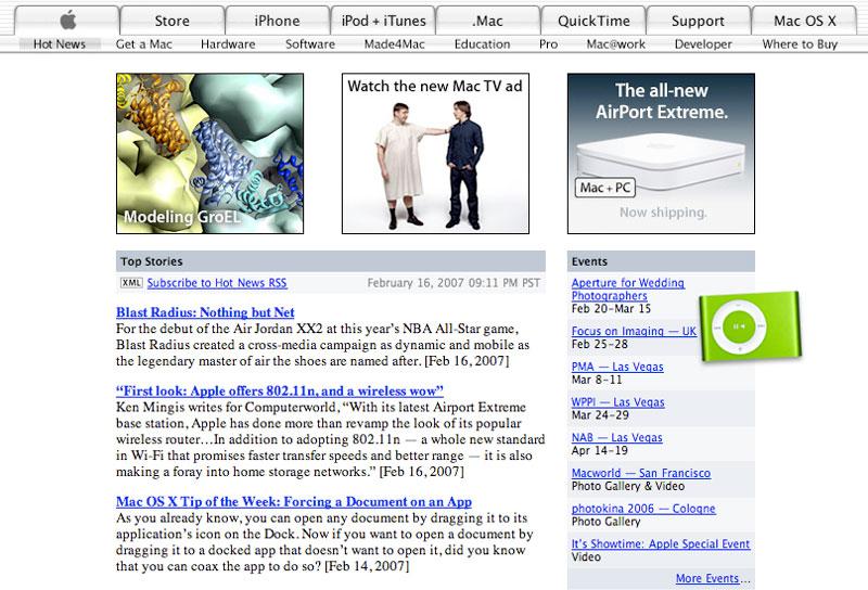 Publicidad ingeniosa del iPod Shuffle alrededor del sitio de Apple 3