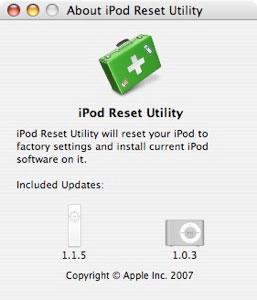 iPod Reset Utility 1.0.2 para restaurar el iPod en Mac y en Windows 1
