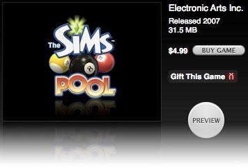 Juego de billar para el iPod con The Sims Pool 1