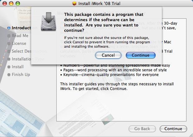 Imágenes de la instalación paso a paso de iWork '08 con Keynote, Numbers y Pages 4