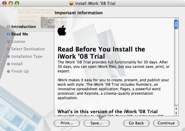 Imágenes de la instalación paso a paso de iWork '08 con Keynote, Numbers y Pages 5