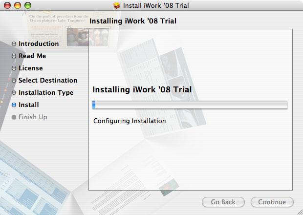 Imágenes de la instalación paso a paso de iWork '08 con Keynote, Numbers y Pages 11