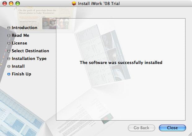 Imágenes de la instalación paso a paso de iWork '08 con Keynote, Numbers y Pages 14