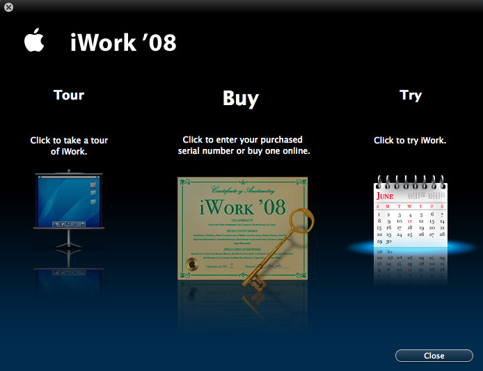 Imágenes de la instalación paso a paso de iWork '08 con Keynote, Numbers y Pages 19