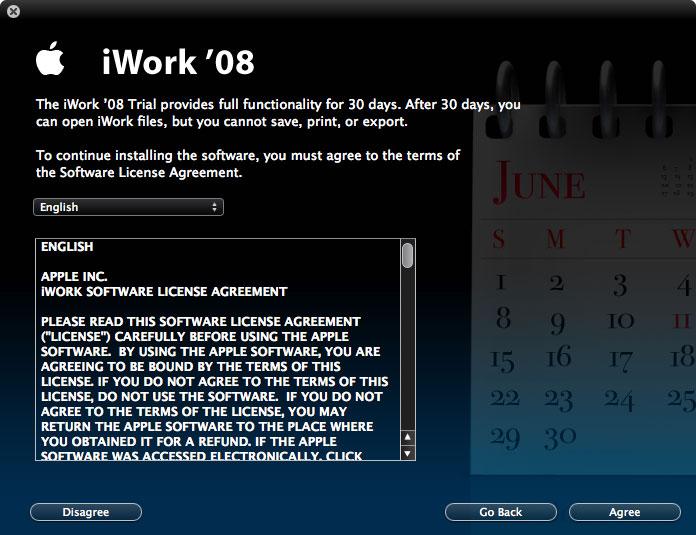 Imágenes de la instalación paso a paso de iWork '08 con Keynote, Numbers y Pages 20