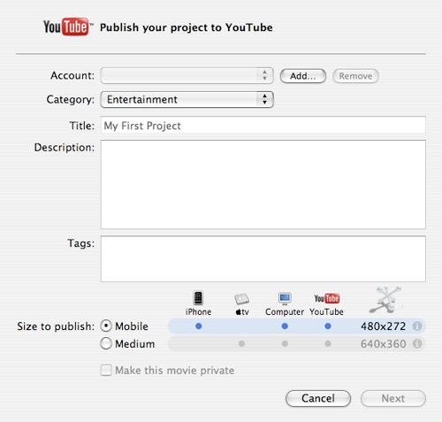 iMovie '08 comparte, exporta y sube tus videos directamente a Youtube 4