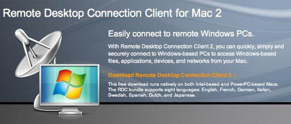 Descarga Microsoft Remote Desktop Connection Client para Mac 2.0 1