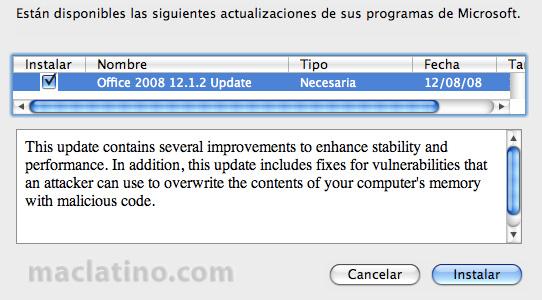 Descarga Microsoft Office 2008 para Mac Service Pack 1 (12.1.0) 5
