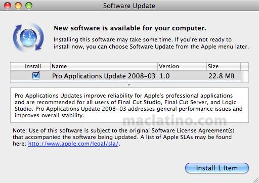 Pro Applications Update 2008-02 para las aplicaciones Pro de Apple 8
