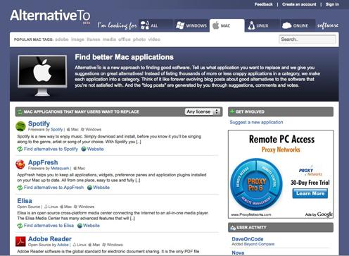 Una nueva alternativa para buscar aplicaciones : AlternativeTo 10