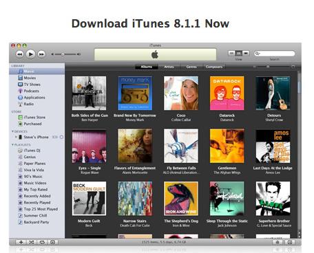 iTunes se actualiza : versión 8.1.1 1