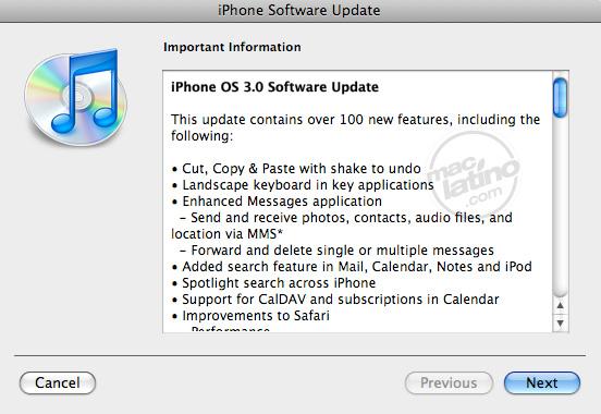 Proceso de instalación del software 3.0 para el iPhone 5