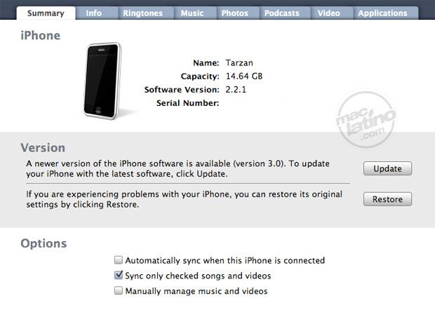 Proceso de instalación del software 3.0 para el iPhone 22