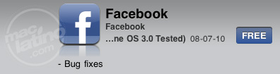 Facebook 3.0.1 para iPhone y iPod touch 1