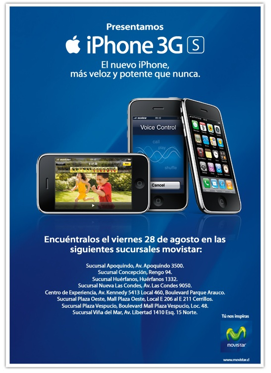 iPhone 3GS disponible en Chile a partir del Viernes 1