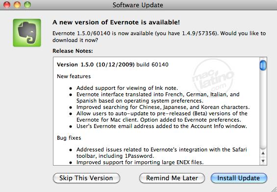 Evernote 1.5.0 para Mac OS X 1