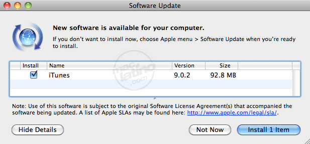 iTunes 9.0.2 para Mac OS X y para Windows 7