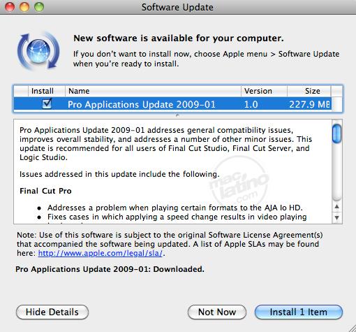 Actualizaciones disponibles para las Aplicaciones Pro de Apple 3