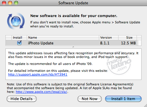 Primera actualización para iPhoto 11 (Versión 9.0.1) 6
