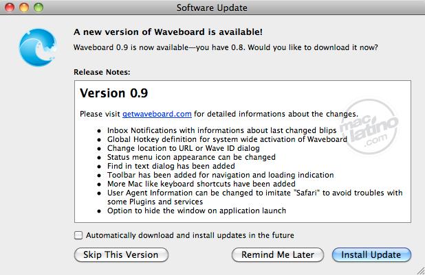 WaveBoard: Notificaciones en Mac para Google Wave 3