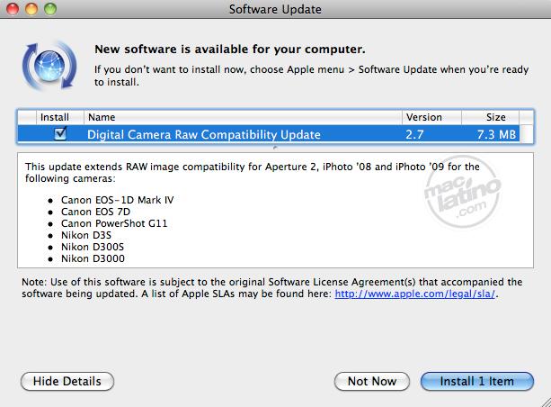 Compatibilidad RAW 2.7 para cámaras digitales en Mac OS X 1