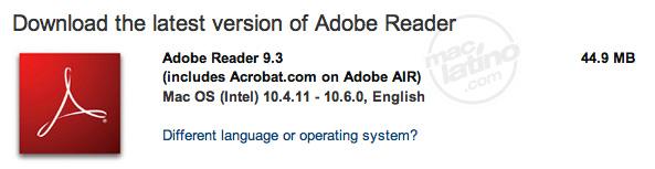 Descarga Adobe Reader y Adobe Acrobat versión 9.3 1