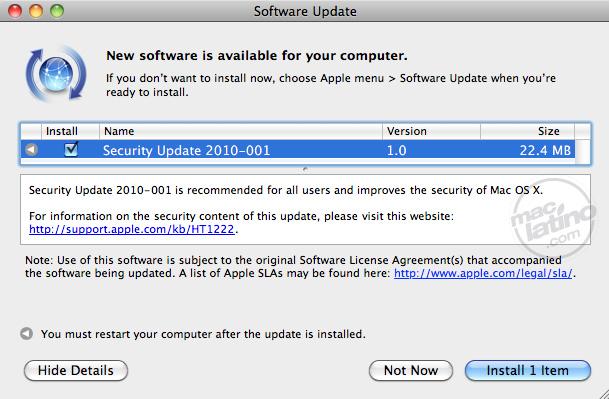 Actualización de rendimiento 1.0 para Mac OS X Leopard y Snow Leopard 7