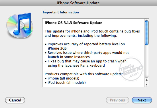 Descarga el iPhone y iPod touch software OS 3.1.3 1