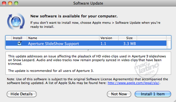 iLife support 9.0.1 para Aperture, iLife '09 y iWork '09 6