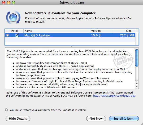 Actualización de Software para Thunderbolt 1.1 en Snow Leopard 6