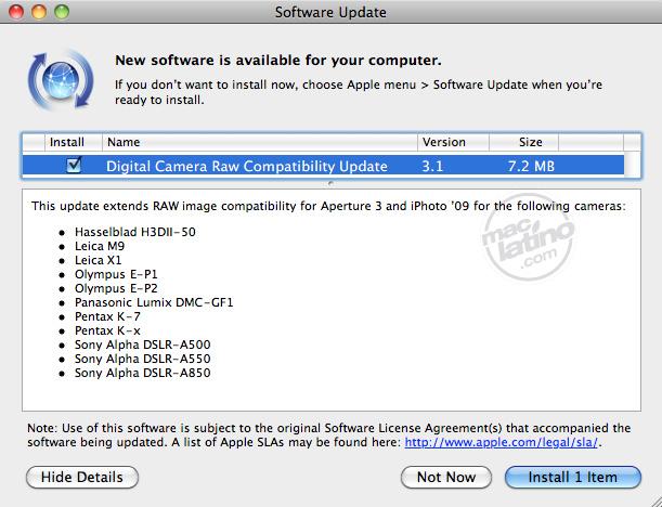 Actualización de compatibilidad RAW para cámaras digitales 3.10 7