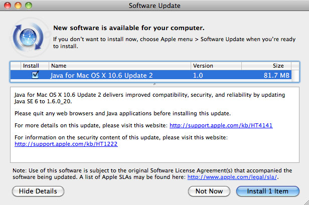 Java Update 9 para Snow Leopard y Java 2012-004 para OS X Lion 5