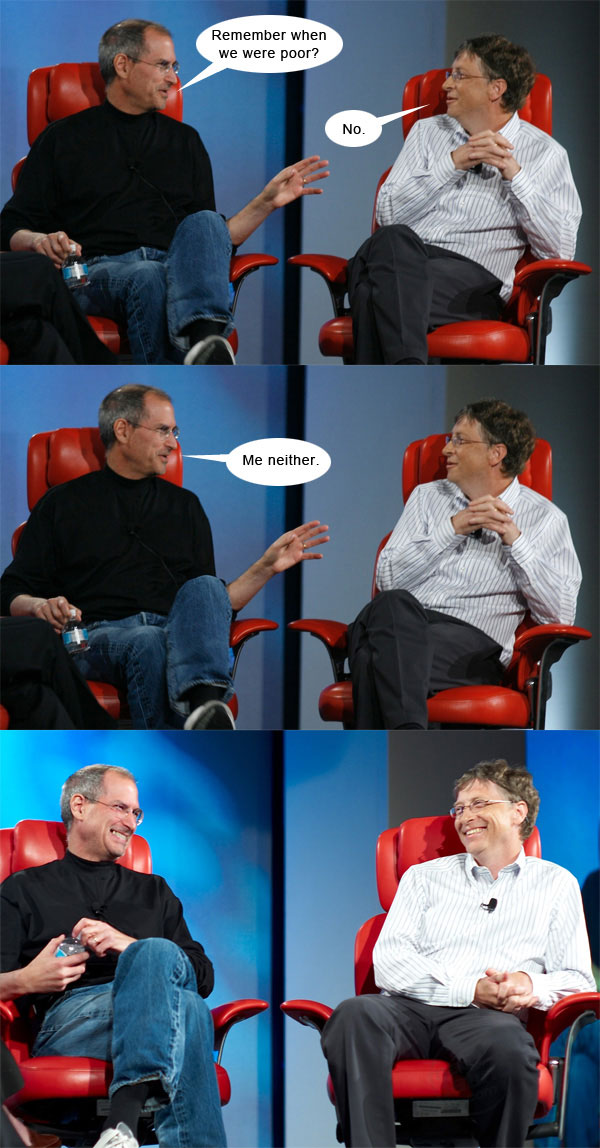 Steve Jobs vs Bill Gates con algo de humor 2