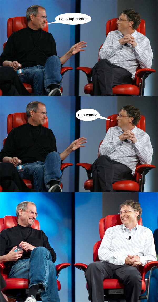 Steve Jobs vs Bill Gates con algo de humor 3