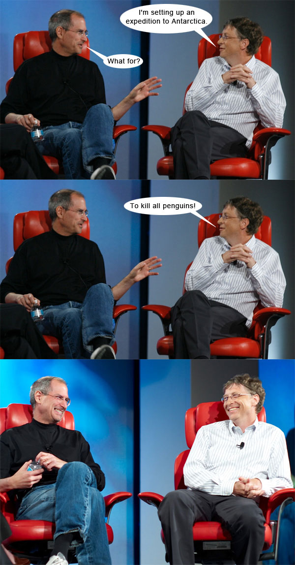 Steve Jobs vs Bill Gates con algo de humor 5