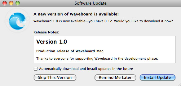 Descarga Waveboard 1.0 para utilizar Google Wave en Mac OS X 1