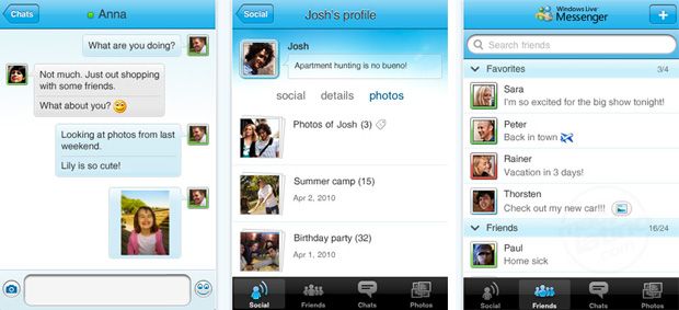 Windows Live Messenger para iPhone, iPad y iPod touch 1
