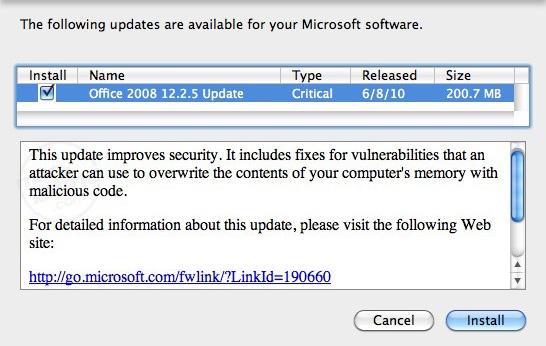 Descarga Microsoft Office 2008 para Mac Service Pack 1 (12.1.0) 6