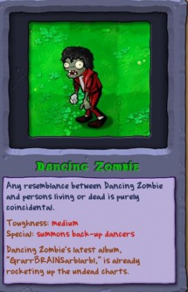"""Plants vs Zombies"" dice Adiós al zombie de Michael Jackson 2"