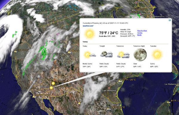 Google Earth ahora con el clima en tiempo real 3