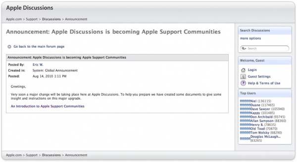 Los foros de soporte de Apple pasarán a ser una red social 1