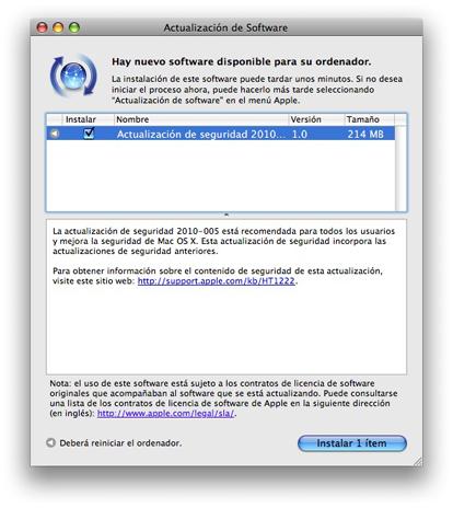 Actualización de seguridad Mac OS  2010-005 1