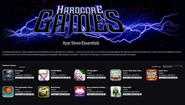 Próximamente nueva sección en la App Store, Hardcore Games 1