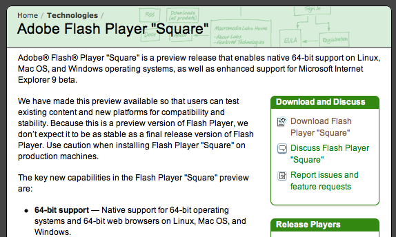 Adobe lanza Square, la beta de Flash Player con soporte para 64-bit 1