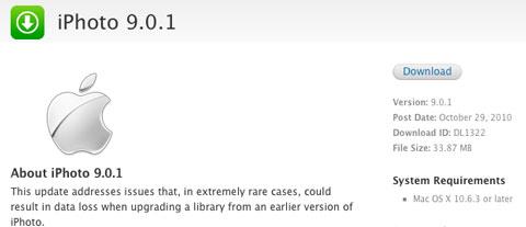 Primera actualización para iPhoto 11 (Versión 9.0.1) 2