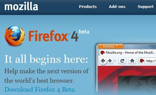 Ya está disponible para móviles, Firefox 4 Beta 1