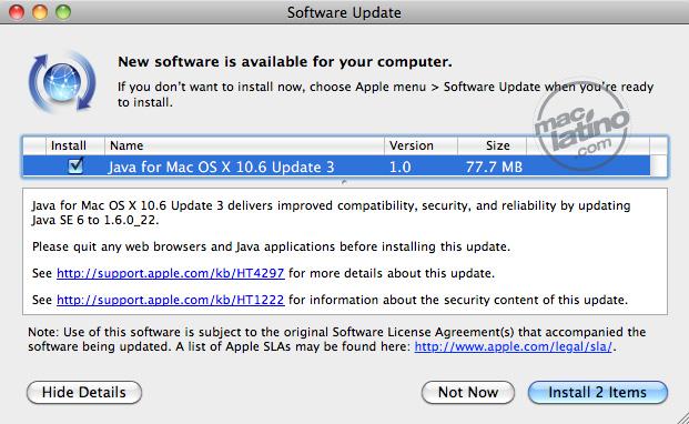 Java para Mac OS X 10.6 actualización 3 versión 1.0 10