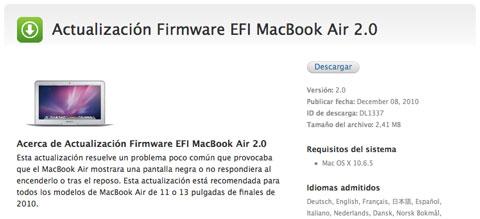 Disponible actualización del firmware de los nuevos MacBook Air 2