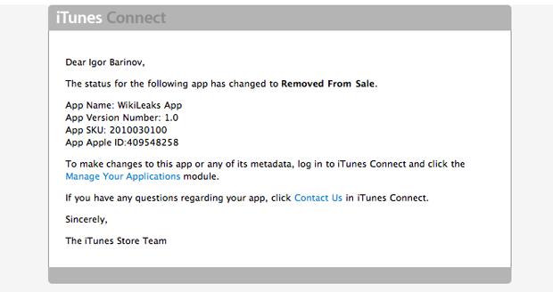 Aplicación de Wikileaks ha sido eliminada de la App Store 1